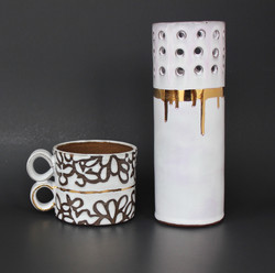 Mug and Vase with Gold Luster