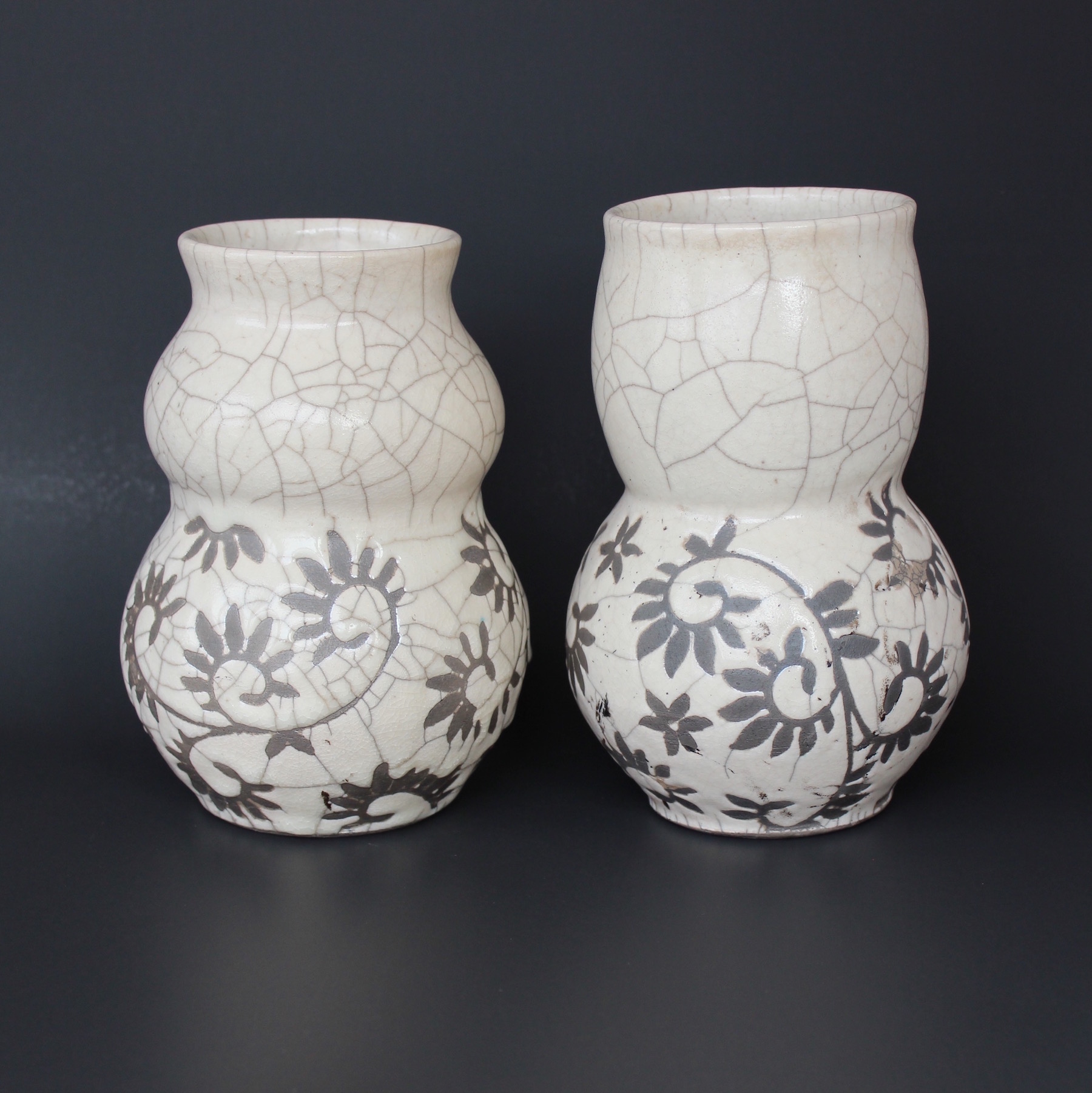 White Crackle Raku Vases