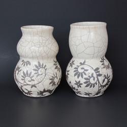 White Crackle Raku Vases