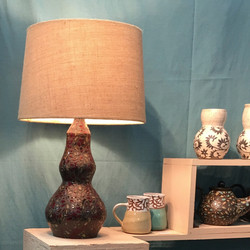 Bohemian Speckled Floral Lamp- Red