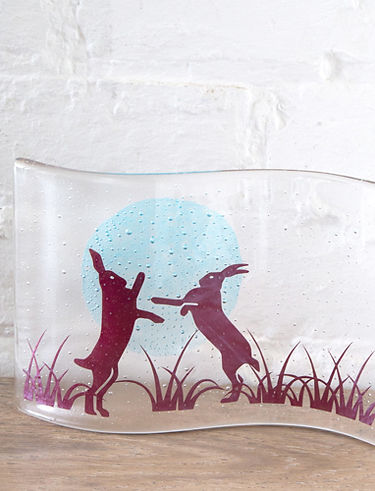 Glass Fused Hares by Becky Haywood