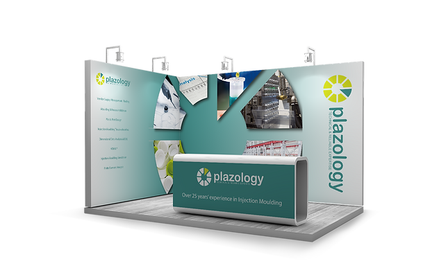 A mock up of an exhibition stand, designed for Plazology by Ros O'Donnell Design