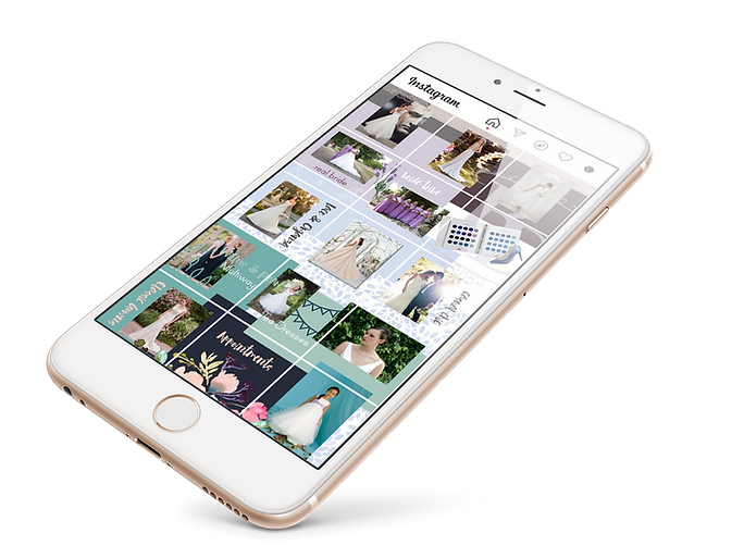 A mock up of an Instagram page on a mobile phone, designed for Boutique of Dreams by Ros O'Donnell Design