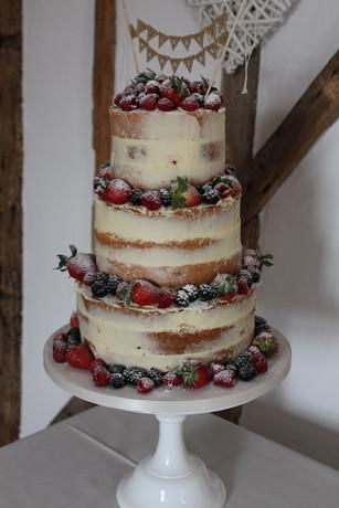 Naked Three Tiered Wedding Cake