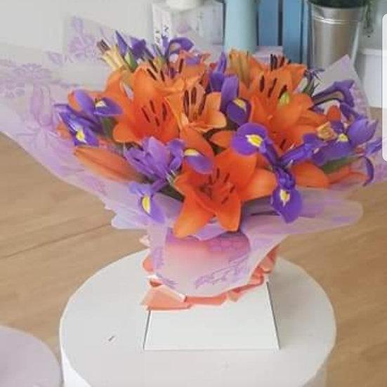 Open Lily & Iris Bouquet