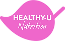 A logo design featuring white text on a pink leaf for Healthy-U Nutrition by Ros O'Donnell Design