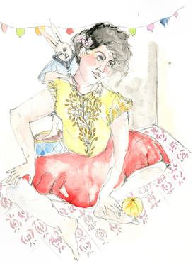 watercolour paints and pen on paper