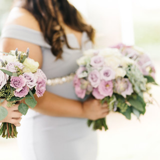 Lavender and purple roses with eucalyptus