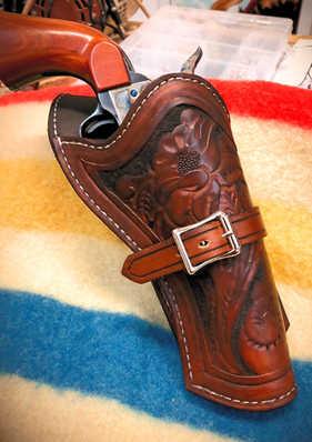 Intricate hand-tooled leatherwork