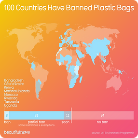 100 countries have banned plastic bags