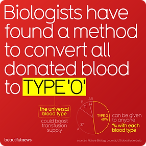 Converting all donated blood to type 'O'