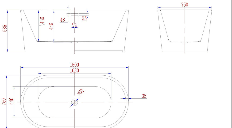Free Standing Bath - Oval SP1891 Drawing