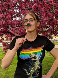 Rainbow Goof Mustache Headshot