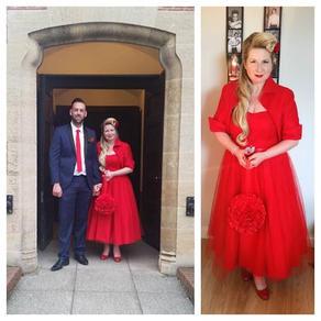 Flocked polka dot tulle wedding dress and jacket