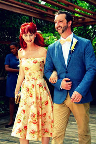 Floral wedding outfit