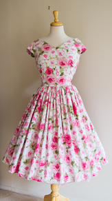 Floral day dress using vintage fabric