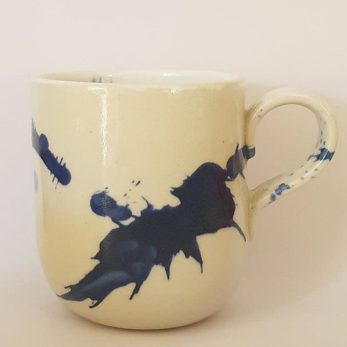 50. handled mug navy splat