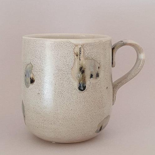 12. handled mug linen black ink