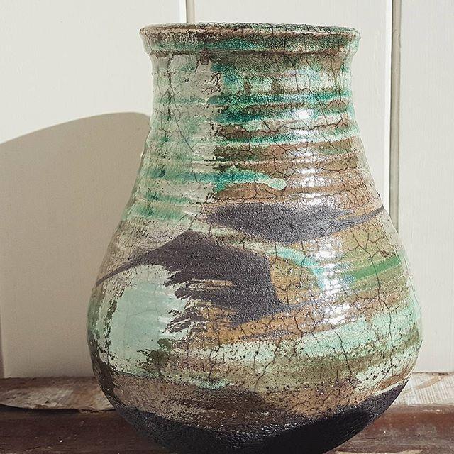 a raku fired vase