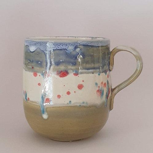 11. handled mug blue confetti