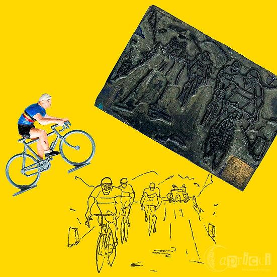サイクルロードレースのイラストのヴィンテージ活版