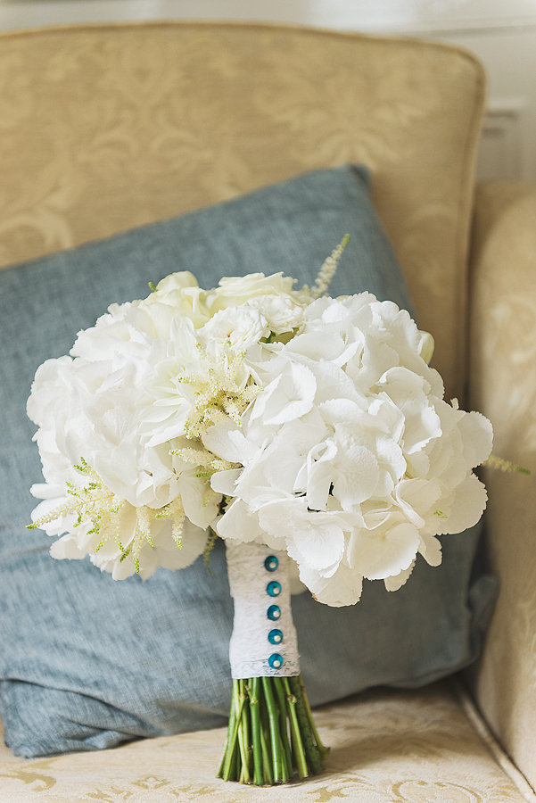 White Hydrangeas and Norma Jeane Roses with astilbe.