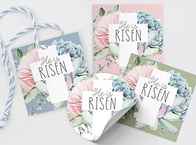 free he is risen christ jesus happy easter cross gift tag cookie tag free download freebie