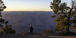 Cathy on the Rim at sunset