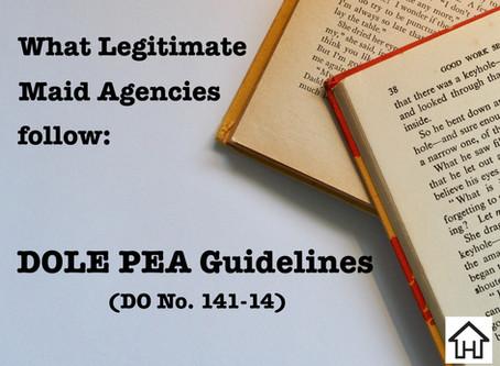 What legitimate Maid Agencies follow - DOLE PEA Guidelines