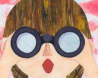 Girl with brown braids and bangs looking through binoculars in surprise. Cut paper collage.