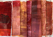 Red, orange, maroon and dark pink acrylic paint mono printed collage papers. Some with brick pattern