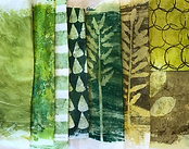 Textured mono printed yellow-green papers in acrylic. Stripes, leaves, circles.