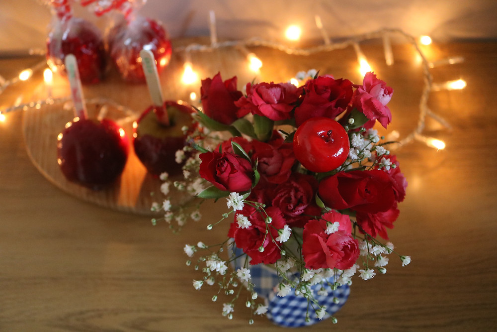 Toffee Apple Flower Bouquet Gingham Florals