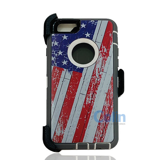 iPhone 6/6S Plus design case with clip heavy duty holster cover - FLAG