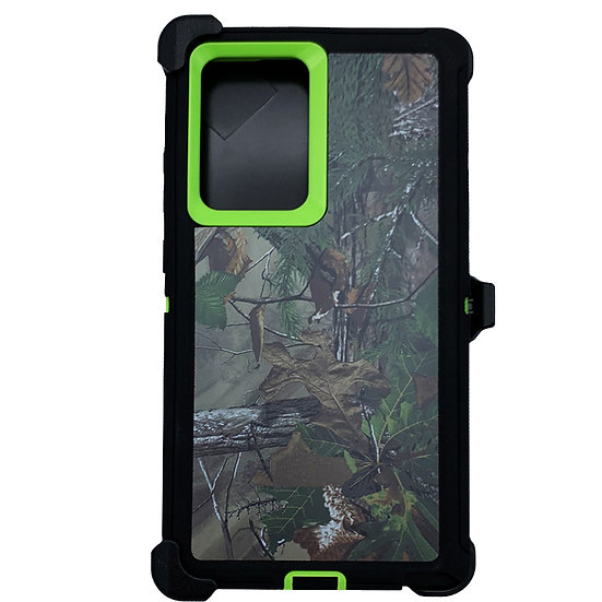 Samsung galaxy Note 20 design case with clip heavy duty holster - GREEN TREE