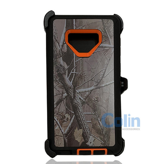 Samsung galaxy Note 9 design case with clip heavy duty holster cover ORANGE TREE