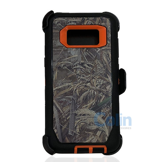 Samsung galaxy S8 design case with clip heavy duty holster cover - ORANGE GRASS