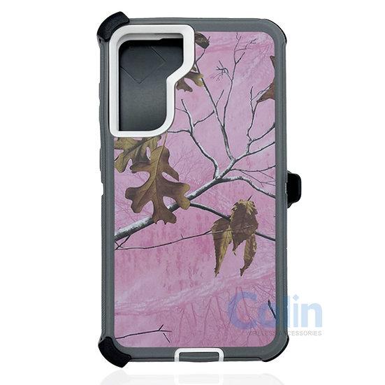Samsung galaxy S21 plus hybrid design case clip heavy duty holster  - PINK TREE