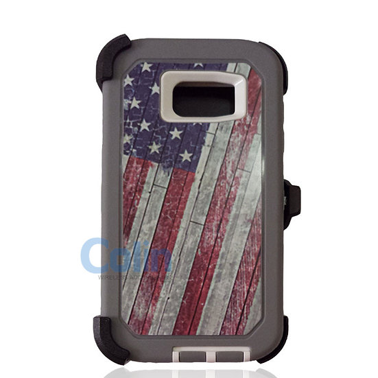 Samsung galaxy S7 Edge design case with clip heavy duty holster cover - FLAG