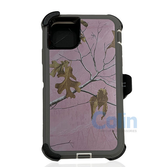 iPhone 11 hybrid design case with clip heavy duty holster cover - PINK TREE