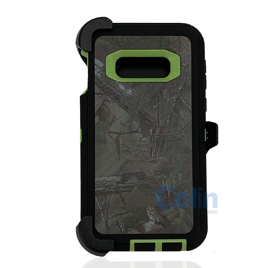 Samsung galaxy S10 E design case with clip heavy duty holster cover - GREEN TREE