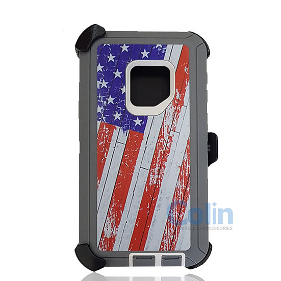Samsung galaxy S9 hybrid design case with clip heavy duty holster cover - FLAG