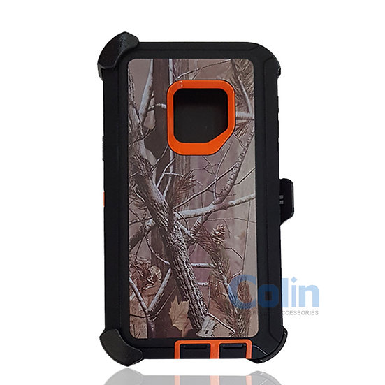 Samsung galaxy S9 design case with clip heavy duty holster cover - ORANGE TREE