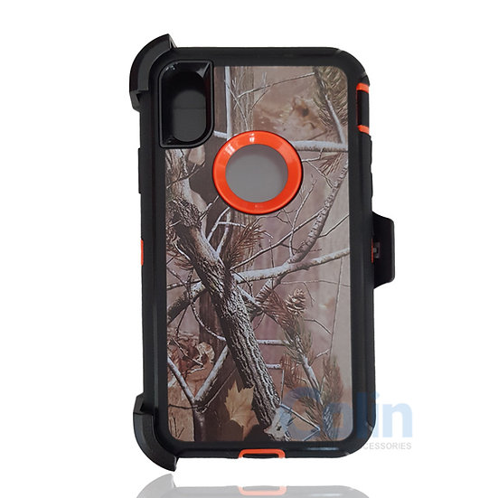 iPhone X & Xs hybrid design case with clip heavy duty holster cover ORANGE TREE