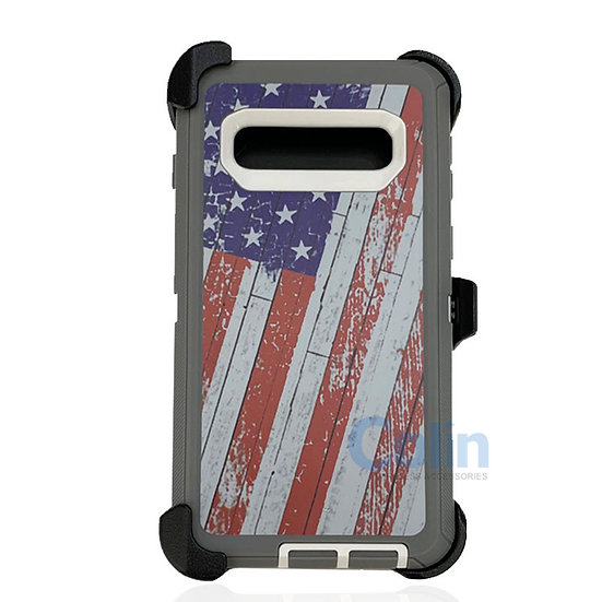 Samsung galaxy S10 Plus hybrid design case with clip heavy duty cover - FLAG