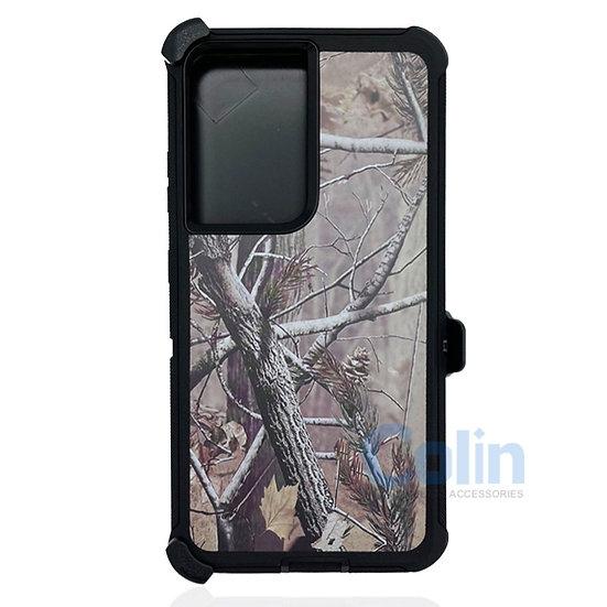 Samsung galaxy S21 ultra hybrid design case clip heavy duty holster - BLACK TREE