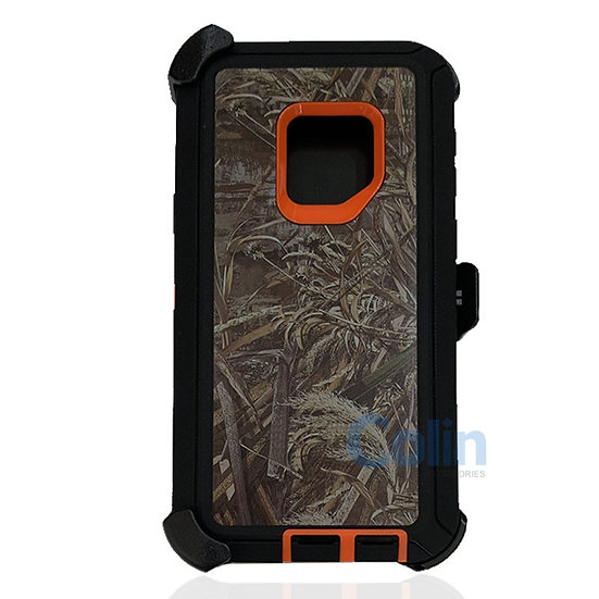 Samsung galaxy S9 design case with clip heavy duty holster cover - ORANGE GRASS