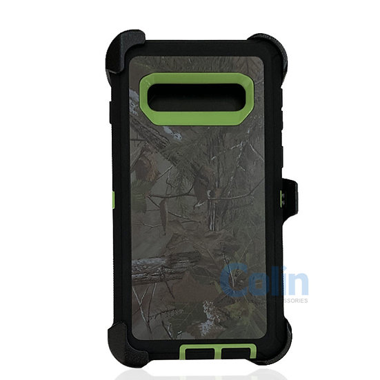 Samsung galaxy S10 Plus design case with clip heavy duty cover - GREEN TREE