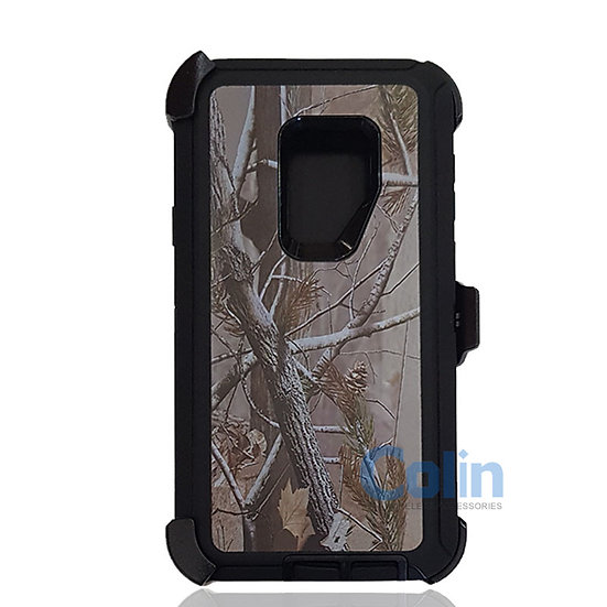 Samsung galaxy S9 Plus design case with clip heavy duty holster cover BLACK TREE