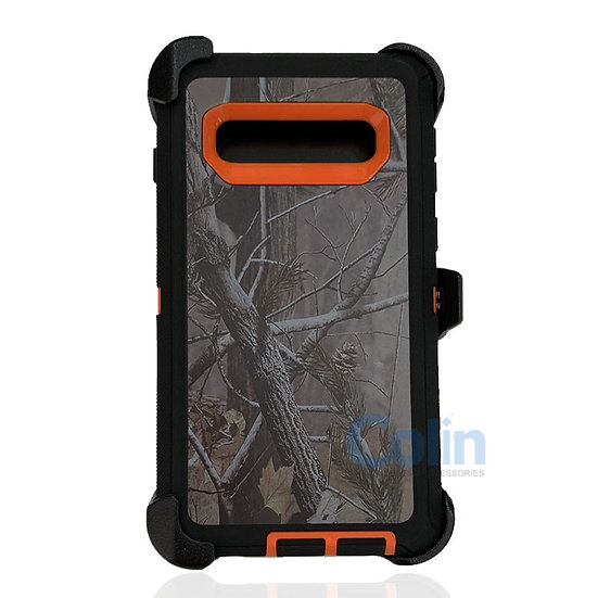 Samsung galaxy S10 design case with clip heavy duty holster cover - ORANGE TREE